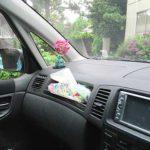 車内にアジサイを飾る